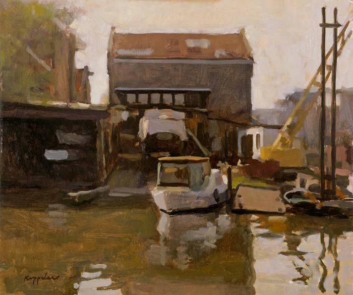 cityscape: 'Schipwharf 'De Walvis' -2-' oil on canvas by Dutch painter Frans Koppelaar.
