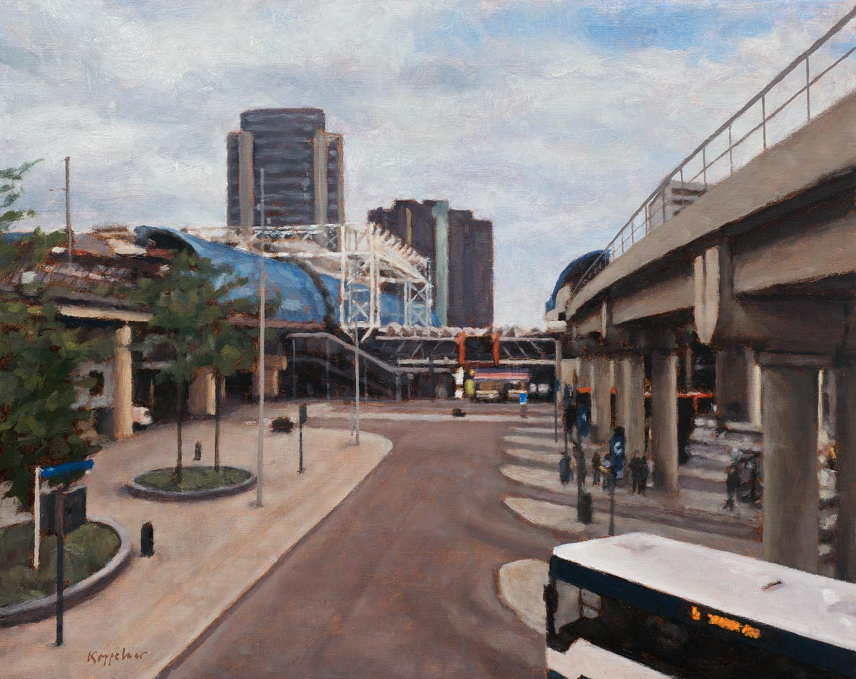 cityscape: 'Train station Sloterdijk' tempera and oil on linnen by Dutch painter Frans Koppelaar.